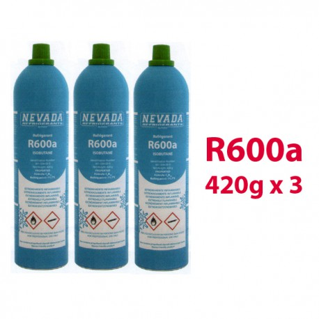 GAS R600a  3 BOMBOLE x 420g